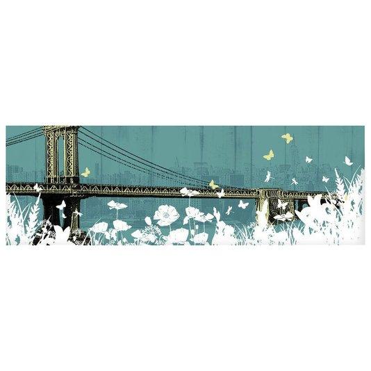 Quadro Tela Decorativa Ponte de Manhattan Flores e Borboletas 150x50cm