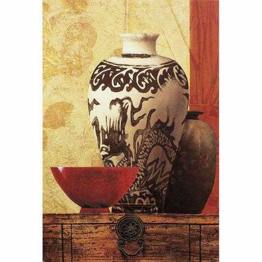 Quadro em Tela Vasos Branco e Marrom Tigela Vermelha 60x90cm