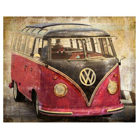 Quadro Tela Decorativa Volkswagen Kombi Antiga Vermelha 100x80cm