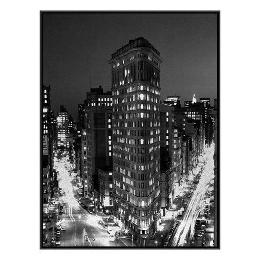 Quadro Tela em Preto e Branco com Moldura Nova York Flatiron Building 90x120cm