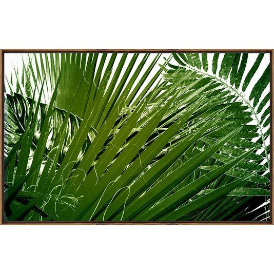 Quadro Tela Folhas de Palmeira com Moldura Na Cor Mel 100x60 Cm