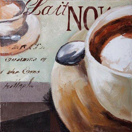 Quadro Tela Impressa Café Lait Noir 50x50cm