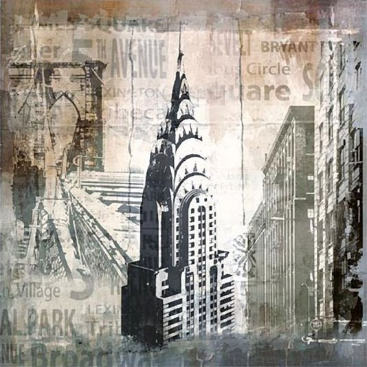 Quadro Tela Impressa Chrysler Building New York 60x60cm