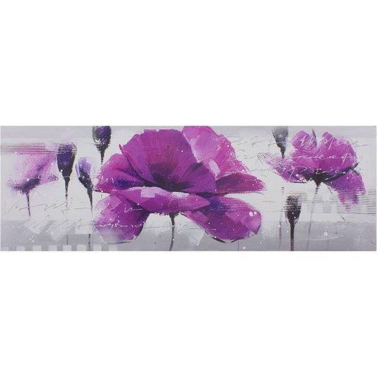 Quadro Tela Impressa Flor Papoula Roxa 150x50cm