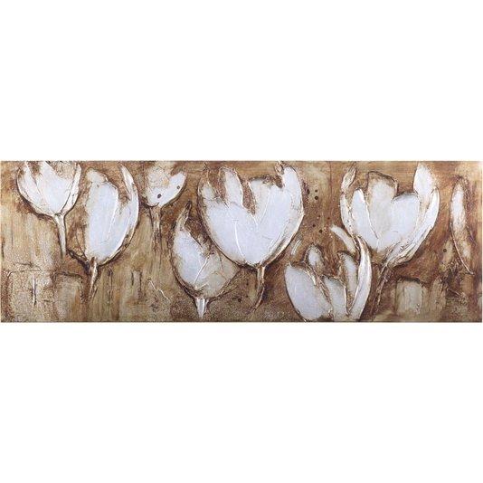 Quadro Tela Impressa Flores Brancas Abstrato 150x50cm