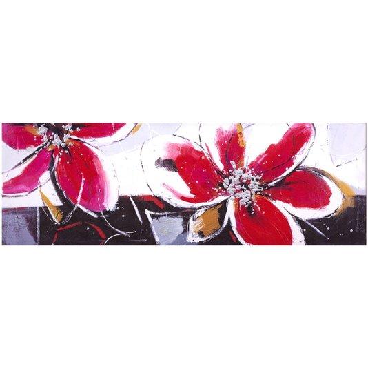 Quadro Tela Impressa Flores Vermelhas 150x50cm