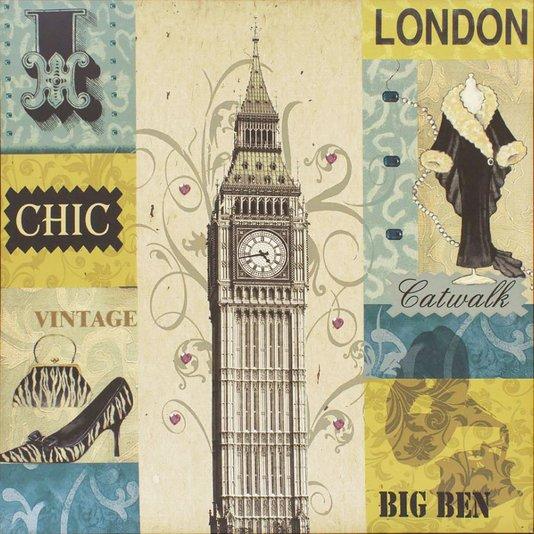 Quadro Tela Impressa London Big Ben 60x60cm