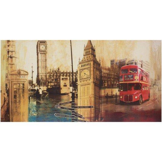 Quadro Tela Impressa Londres Big Ben e Red Bus 120x60cm