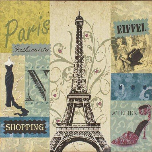Quadro Tela Impressa Paris Fashionista Torre Eiffel 60x60cm