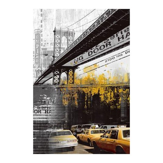 Quadro Tela Impressa Ponte de Manhattan e Táxi Amarelo 60x90cm