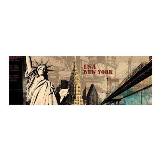Quadro Tela Impressa Pontos Turísticos de Nova York 120x40cm