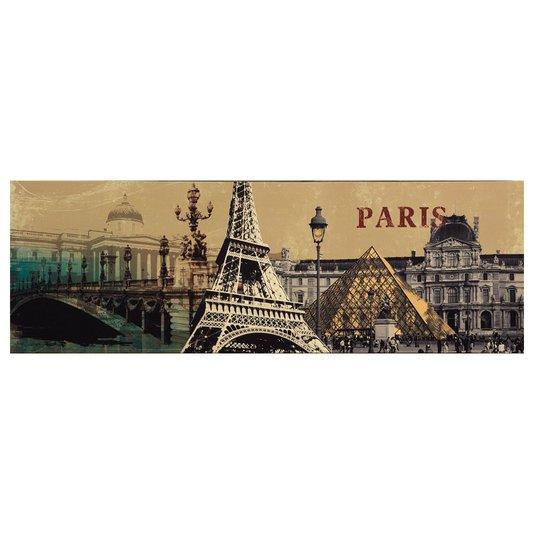 Quadro Tela Impressa Pontos Turísticos de Paris 120x40cm