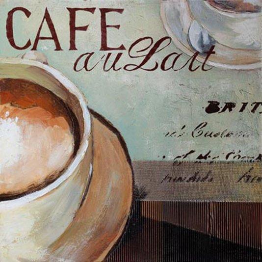 Quadro Tela Impressa Xícara Café com Leite 50x50cm