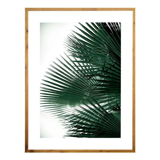 Quadro Tropical Rústico Folhas Verdes de Palmeira 90x120cm