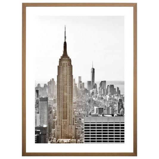 Quadro Urbano com Moldura Natural Empire State 60x80 cm