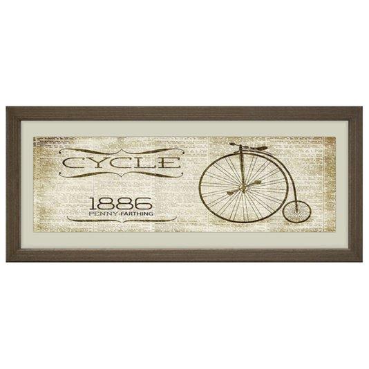 Quadro Vintage Decorativo Cycle 1886 Penny Farthing 50x20cm