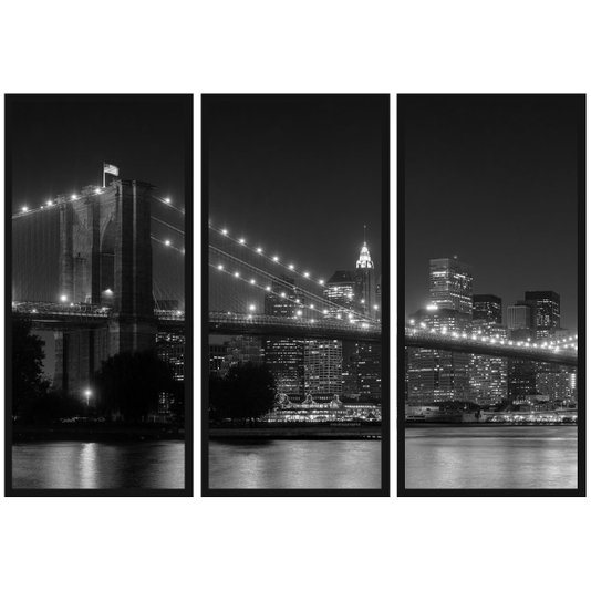 Kit de 3 Quadros em Preto e Branco New York Ponte Brooklyn 150x100cm