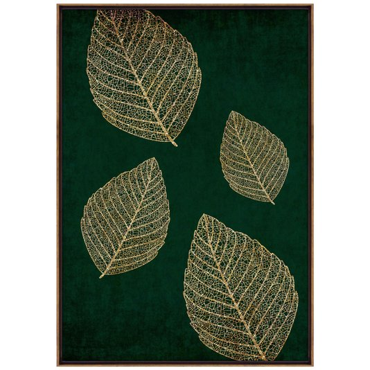 Tela Canvas Decorativa com Moldura Folhas em Fundo Verde 70x100 cm