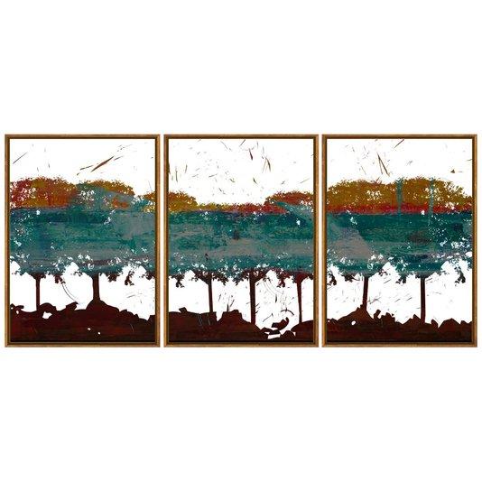 Trio de Quadros Abstratos Tela Canvas com Moldura 160x70cm
