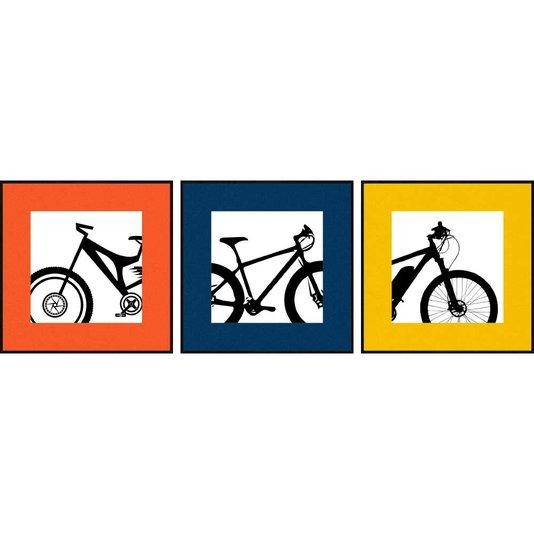 Trio de Quadros Bicicletas com Margens Coloridas 3 Quadros de 30x30 cm