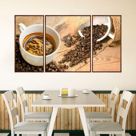 Trio de Quadros em Tela Canvas com Moldura Café 190x100 cm