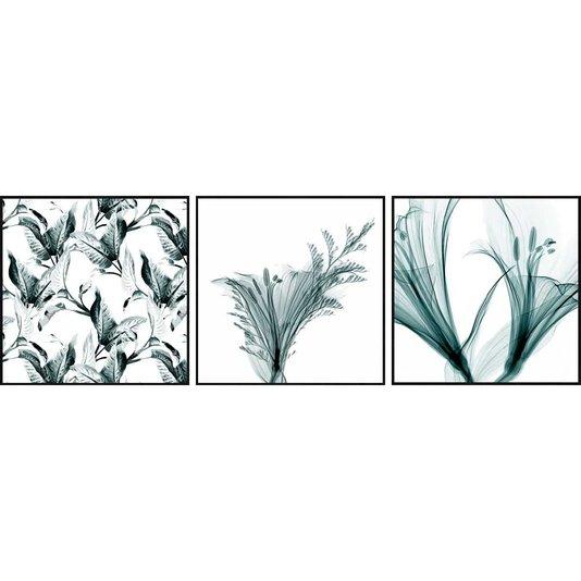 Trio de Quadros Flores na Cor Verde Água 3 Quadros de 30x30 cm