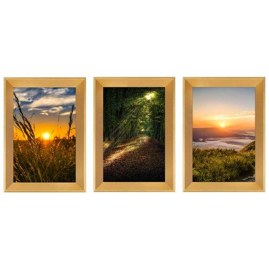 Trio de Quadros Paisagens Natureza Horizonte Pôr do Sol 25x35 cm
