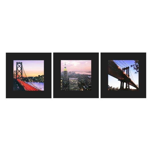 Trio de Quadros Pontos Túristicos New York 40x40 cm