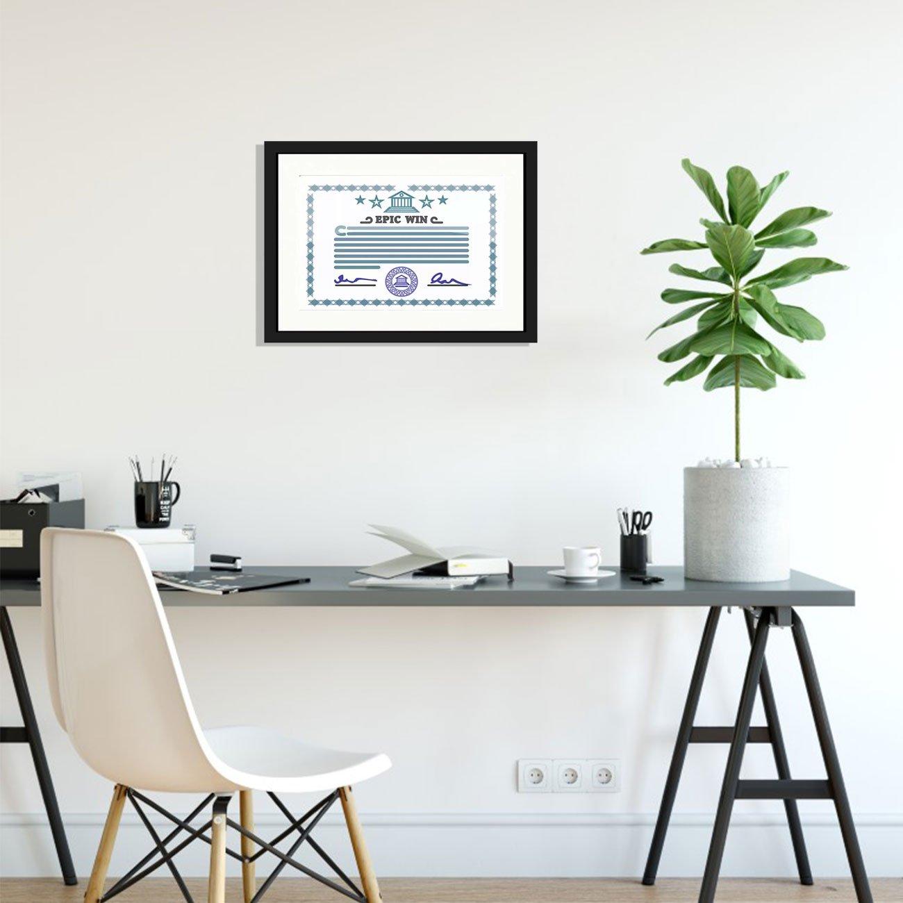 Moldura para Certificado Diploma 20x30cm Quadro Preto e Branco com Vidro