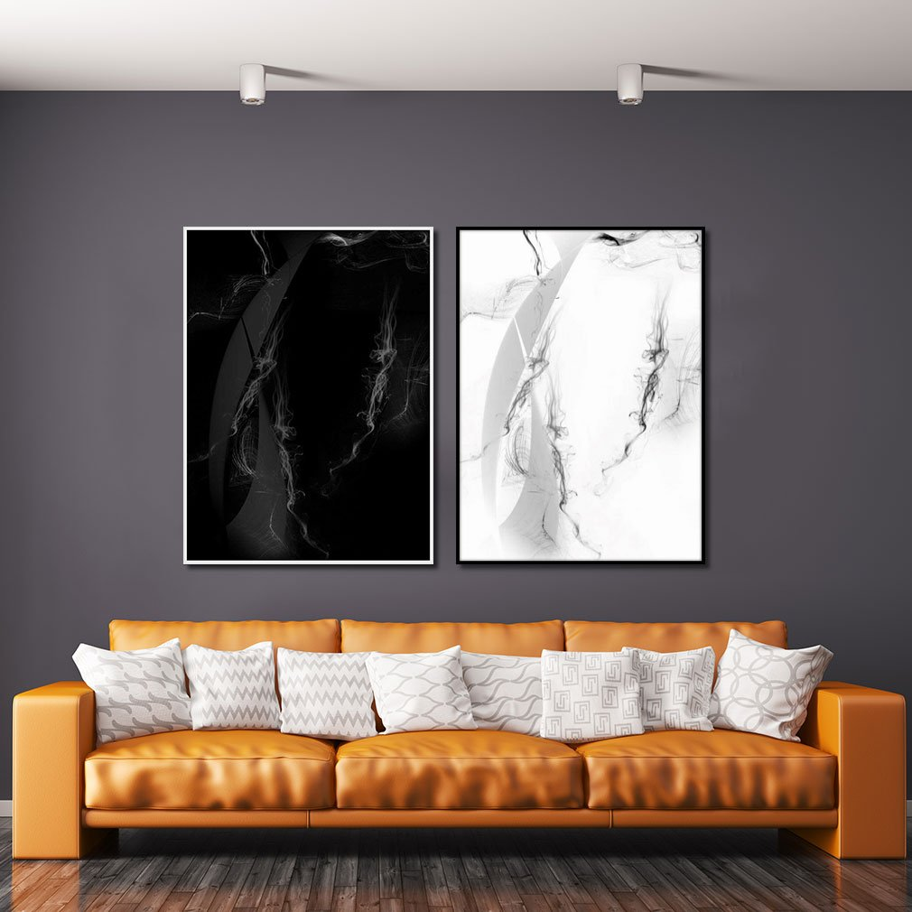 Par de quadros grande, arte abstrata moderna.
