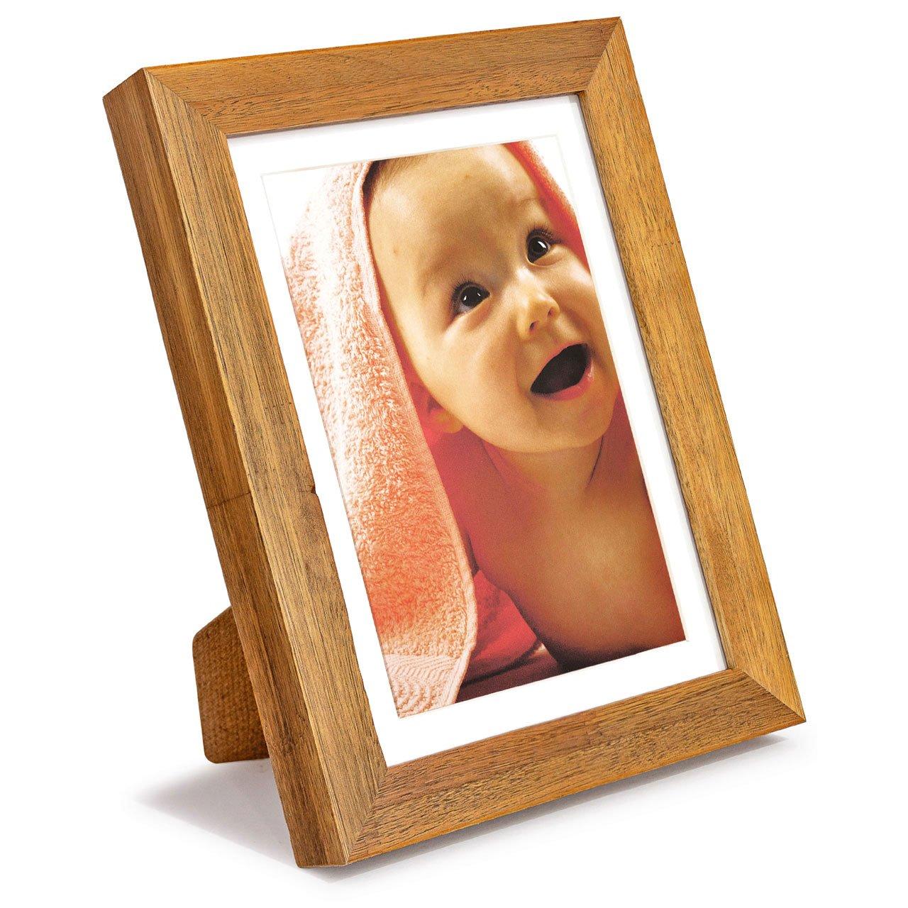 Porta Retrato para 1 Foto 15x21cm Moldura em Madeira Tingida com Nós