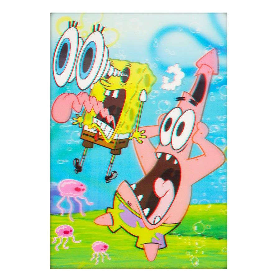 Poster 3d Bob Esponja Calca Quadrada E Patrick 50x70cm Com Sem