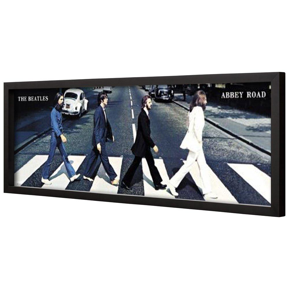 Poster com Moldura Quadro Decorativo Capa Álbum Abbey Road The Beatles 160x60cm