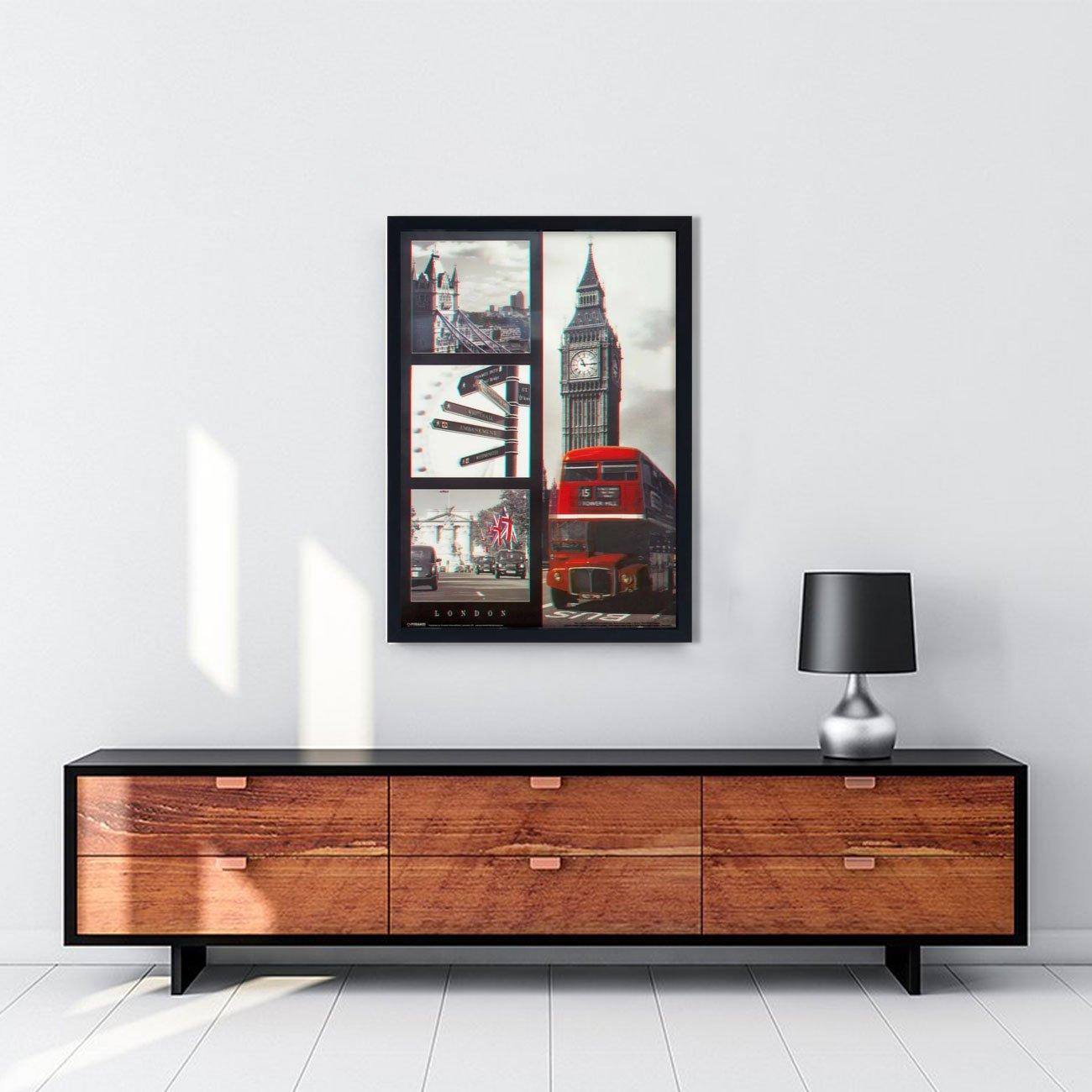 Quadro 3D Poster Alguns Pontos Turísticos de Londres Inglaterra 50x70cm