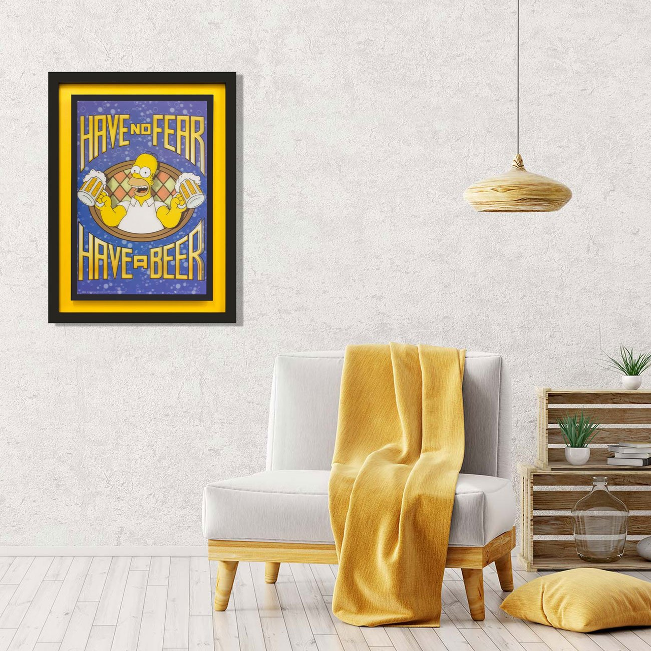 Quadro 3D Homer Simpson Have no Fear, Have a Beer 65x85cm