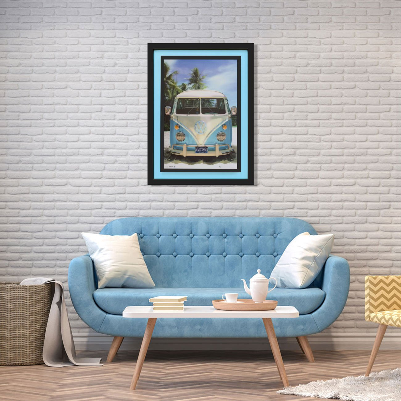 Quadro 3D Kombi Azul e Branca na Praia 65x85cm