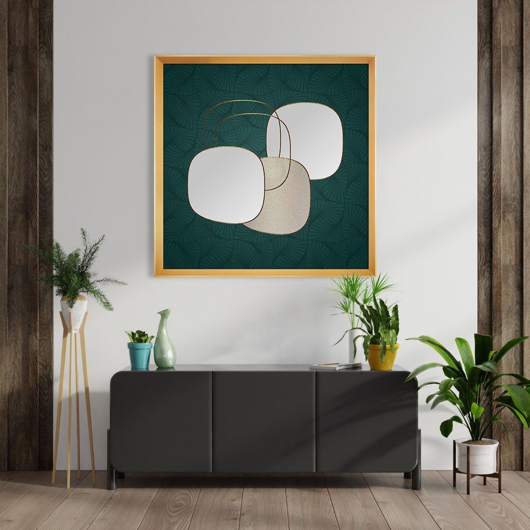 Quadro Abstrato Arte Orgânica com Moldura Dourada 95x95 cm