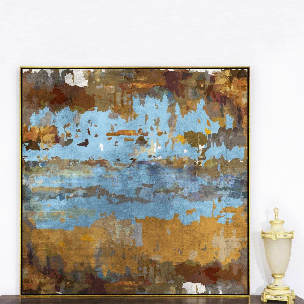 Quadro Abstrato em Tela Canvas com Moldura Dourada 120x120cm