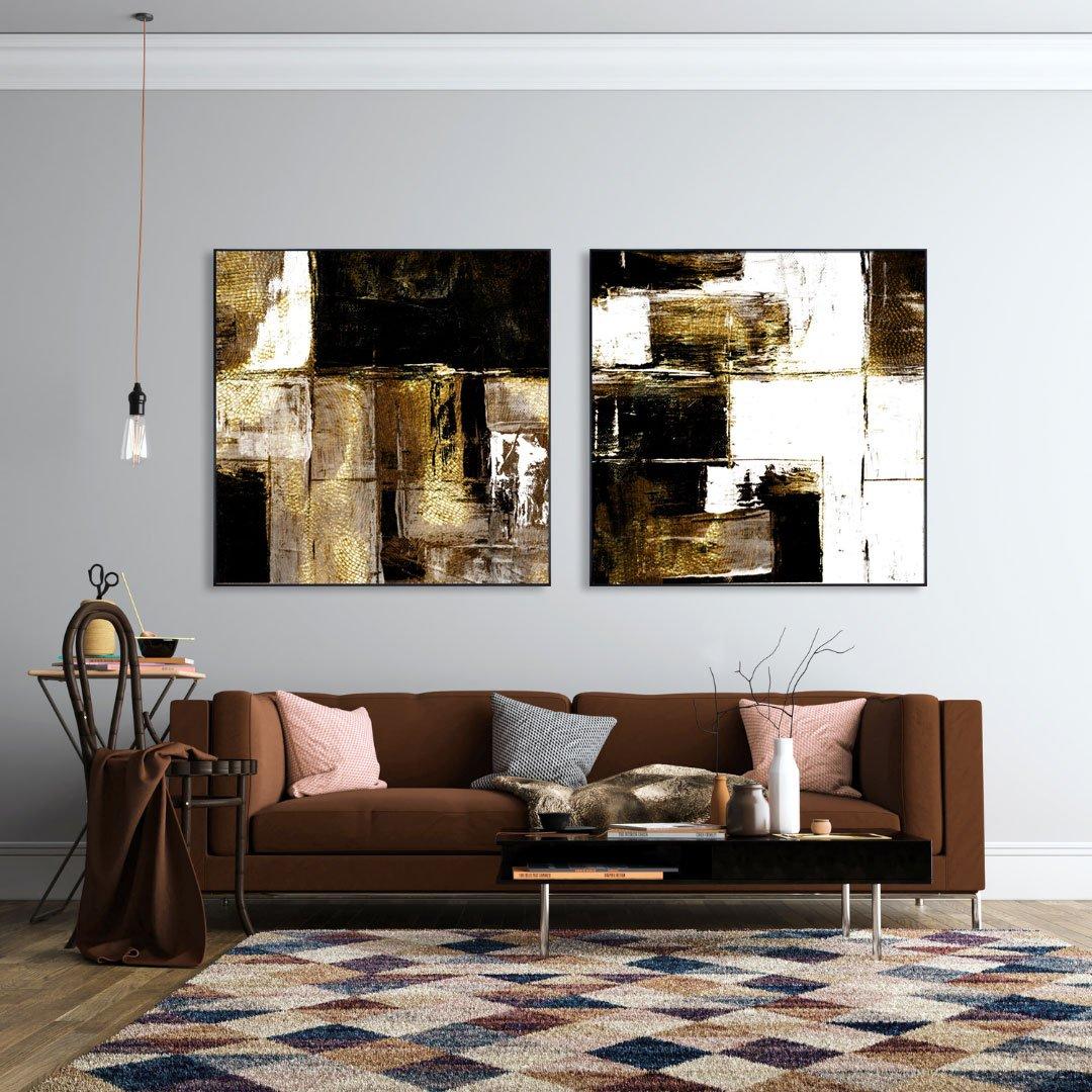 Quadro Abstrato Grande Arte Moderna com Moldura Preta 120x120 cm