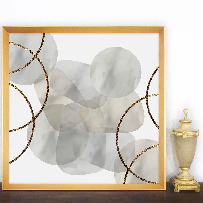Quadro Abstrato Moderno com Moldura Dourada Chanfrada 95x95 cm