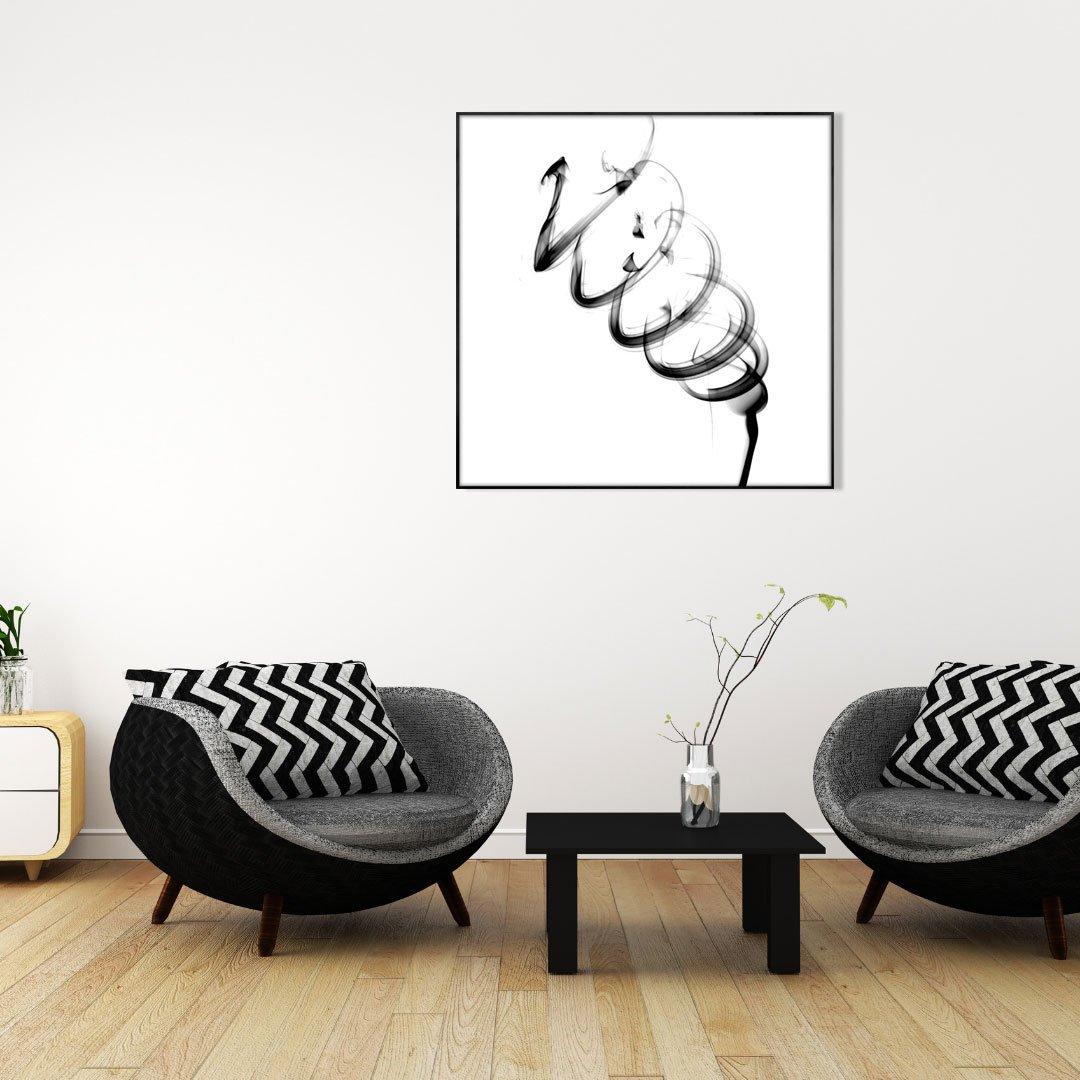 Quadro Abstrato Preto e Branco Arte Moderna com Moldura Preta 80x80 cm