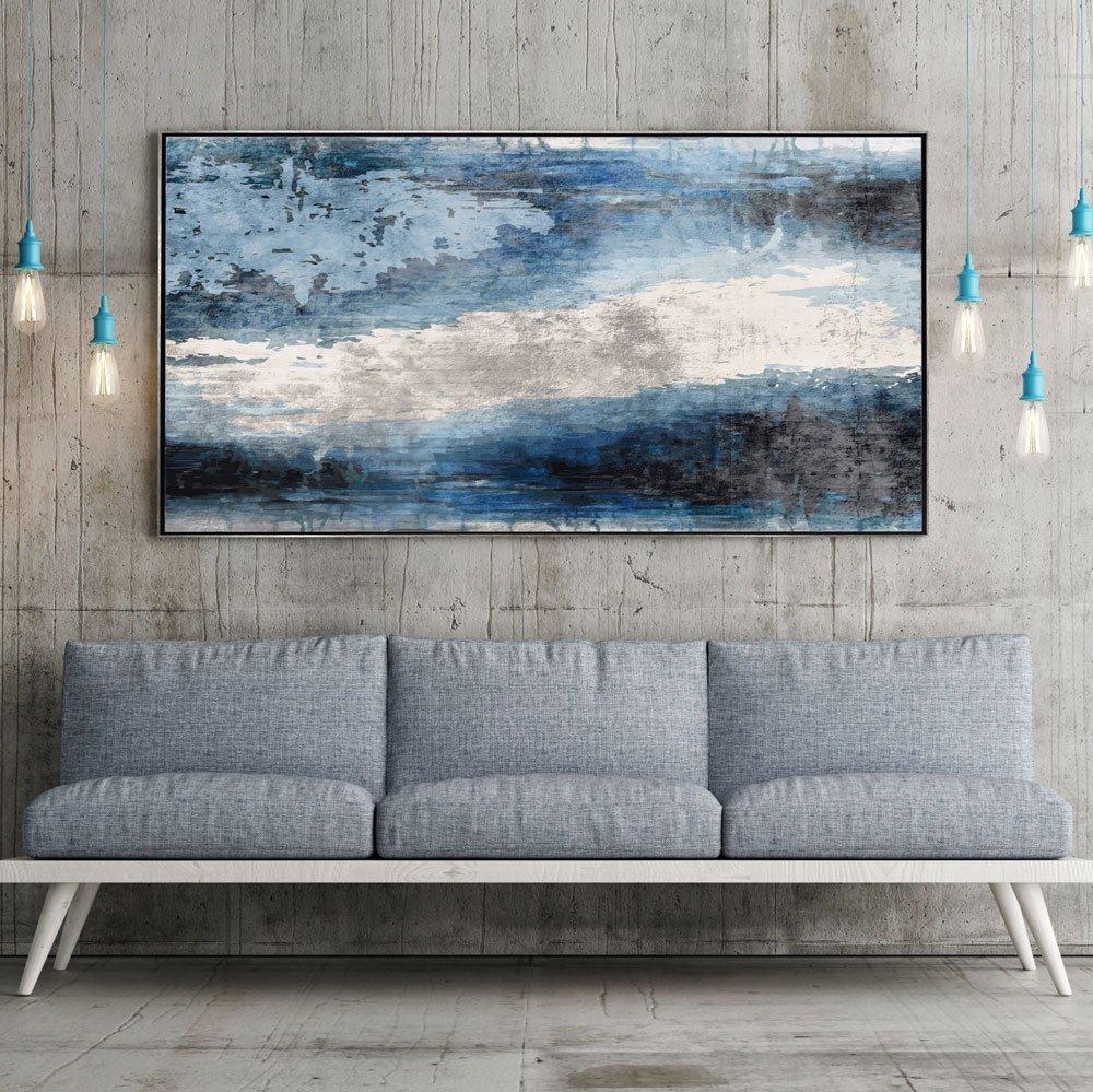 Quadro Abstrato Decorativo Tela Canvas com Moldura Prata