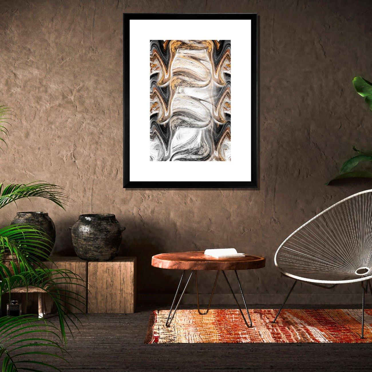 Quadro Abstrato Textura Cinzenta e Amarela Inclinação 90x120 cm