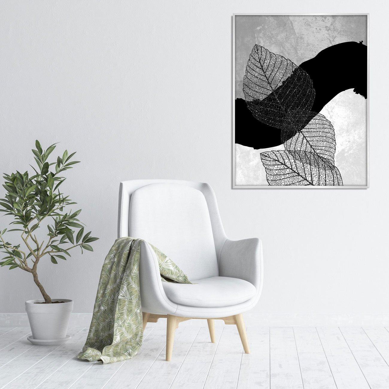 Quadro Arte Abstrata e Folhas em Preto e Branco 70x90 cm
