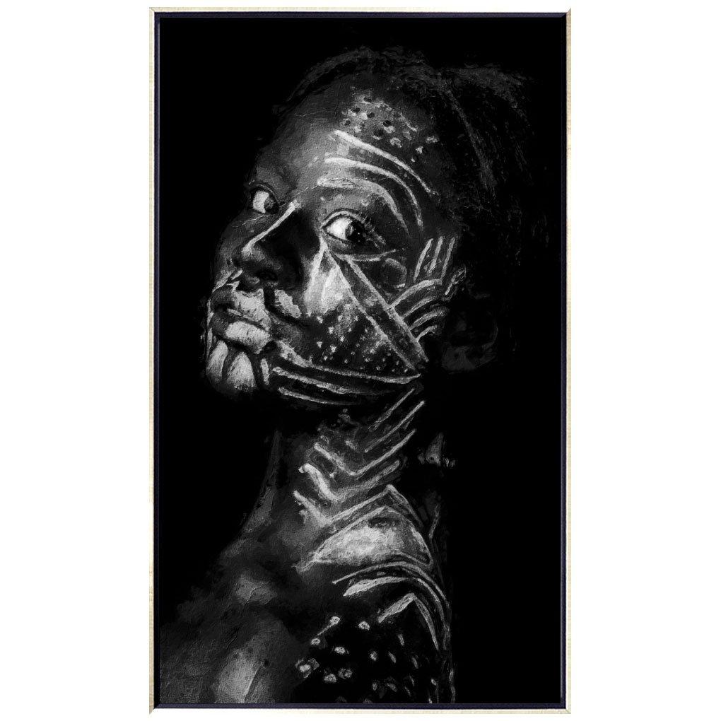 Quadro Arte Africana Tela Canvas com Moldura Prata 70x120 cm