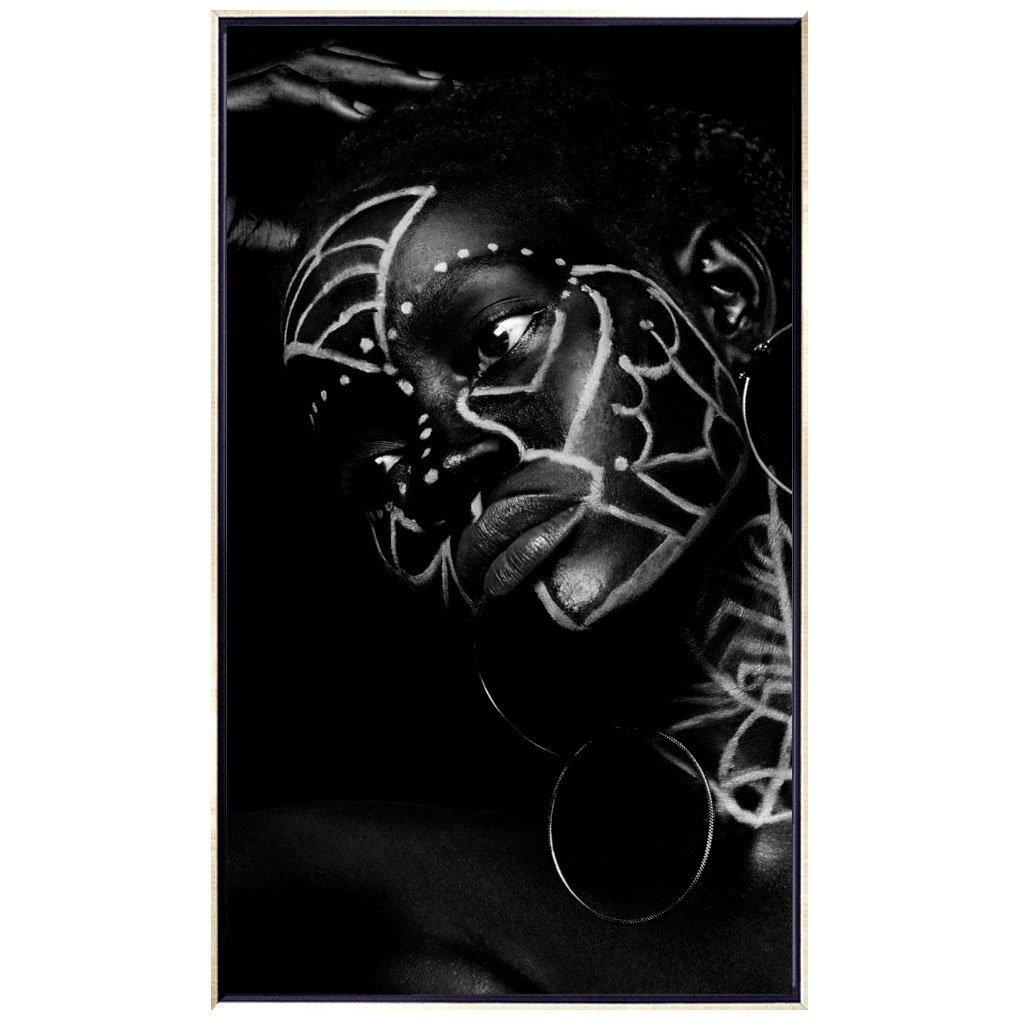 Quadro Arte Africana Tribos Tela Canvas com Moldura Prata 70x120 cm