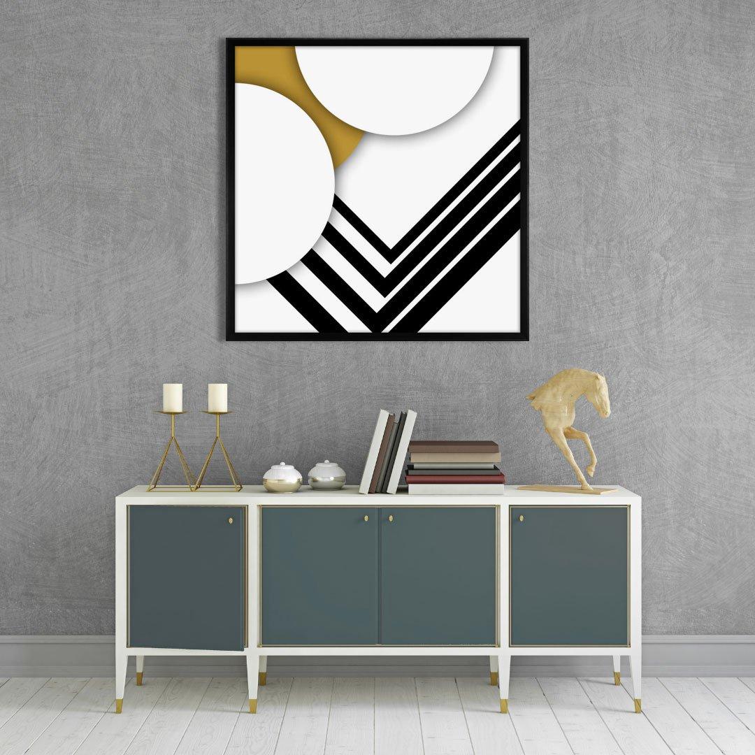 Quadro Arte Geométrica Moderna com Moldura Chanfrada 95x95 cm