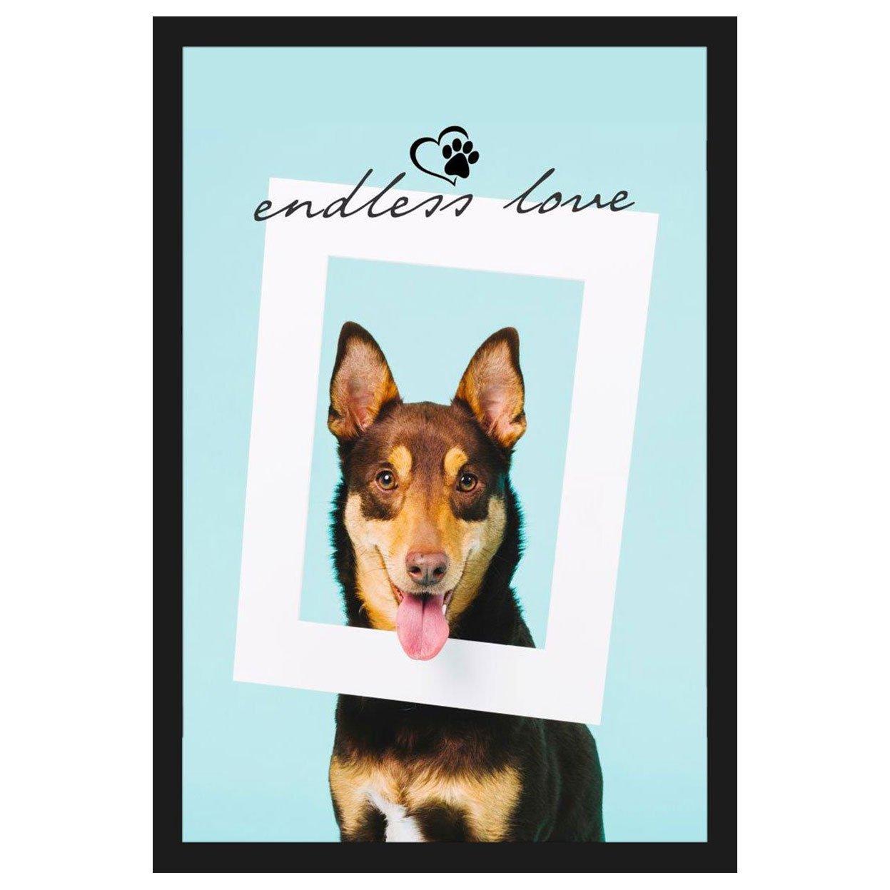 Quadro Cachorro Com Moldura Preta E Frase Amor Sem Fim 40x60cm
