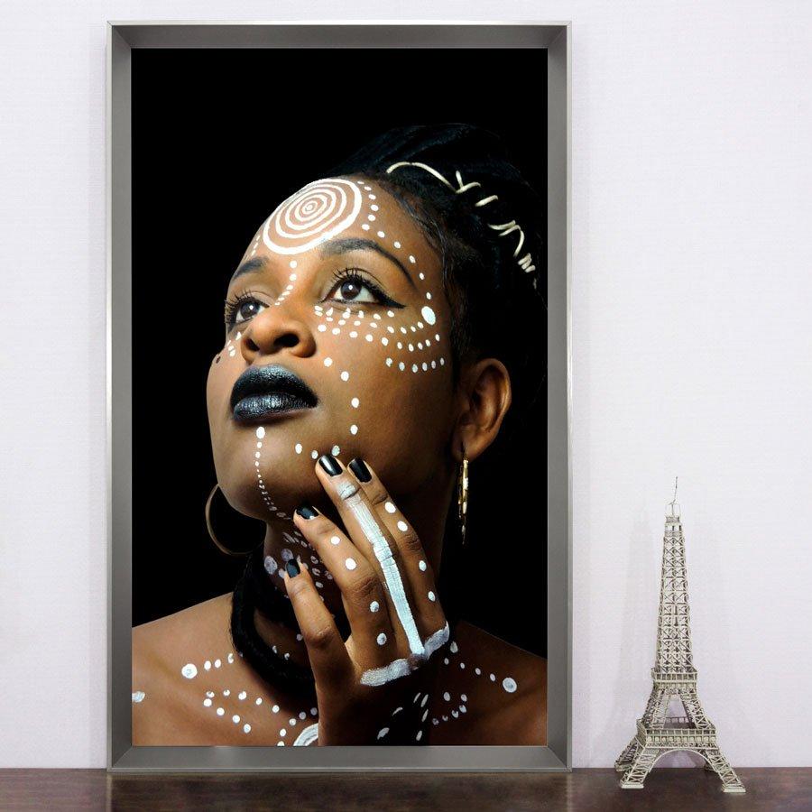Quadro decorativo colorido, Arte Africana - Série Deusa do Ébano.