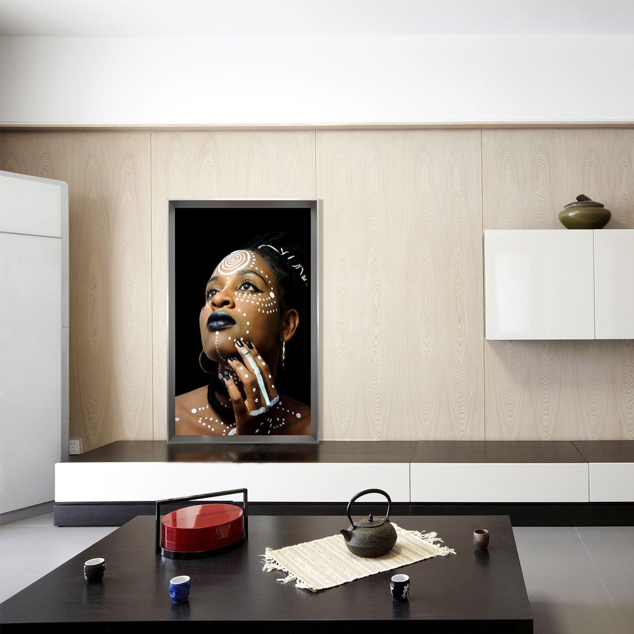 Quadro Colorido Mulher Africana Série Deusa do Ébano 85x145 cm